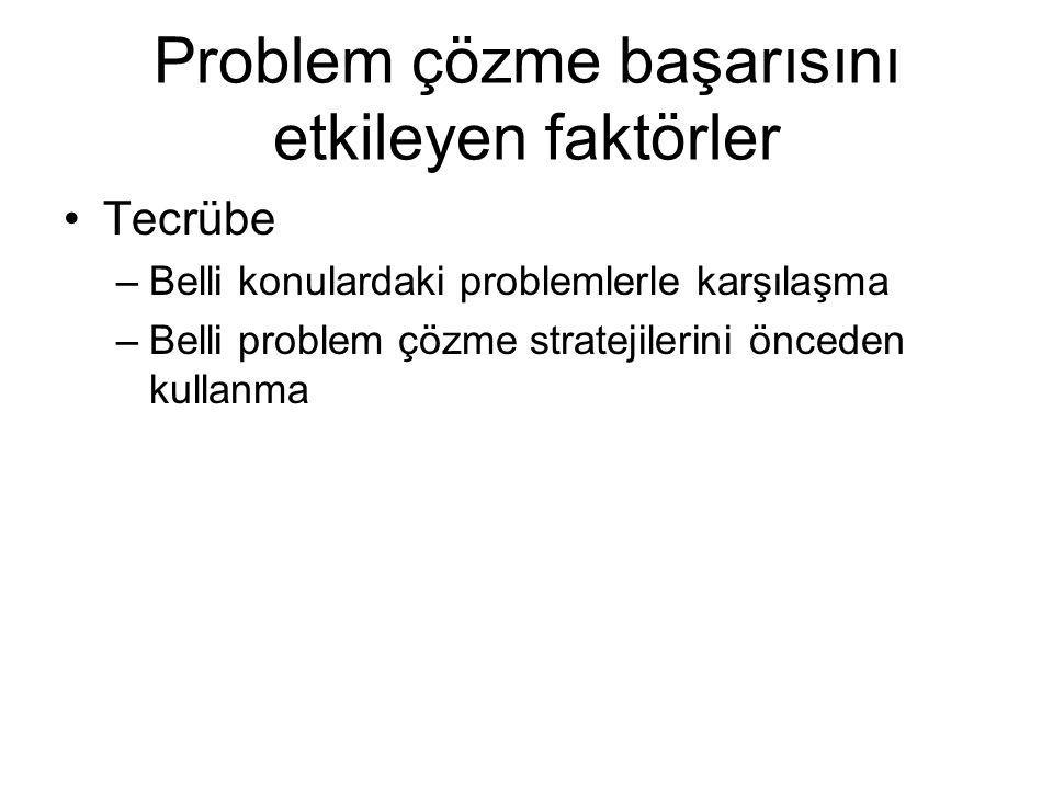 Problem çözme başarısını etkileyen faktörler Tecrübe –Belli konulardaki problemlerle karşılaşma –Belli problem çözme stratejilerini önceden kullanma