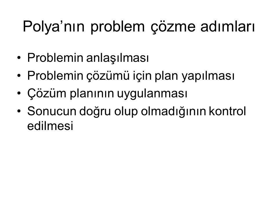 Polya'nın problem çözme adımları Problemin anlaşılması Problemin çözümü için plan yapılması Çözüm planının uygulanması Sonucun doğru olup olmadığının