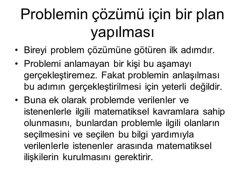 Problemin çözümü için bir plan yapılması Bireyi problem çözümüne götüren ilk adımdır. Problemi anlamayan bir kişi bu aşamayı gerçekleştiremez. Fakat p