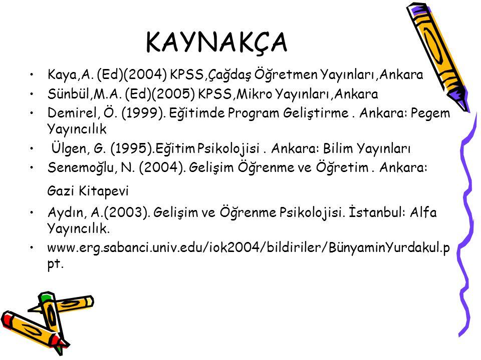 KAYNAKÇA Kaya,A. (Ed)(2004) KPSS,Çağdaş Öğretmen Yayınları,Ankara Sünbül,M.A. (Ed)(2005) KPSS,Mikro Yayınları,Ankara Demirel, Ö. (1999). Eğitimde Prog