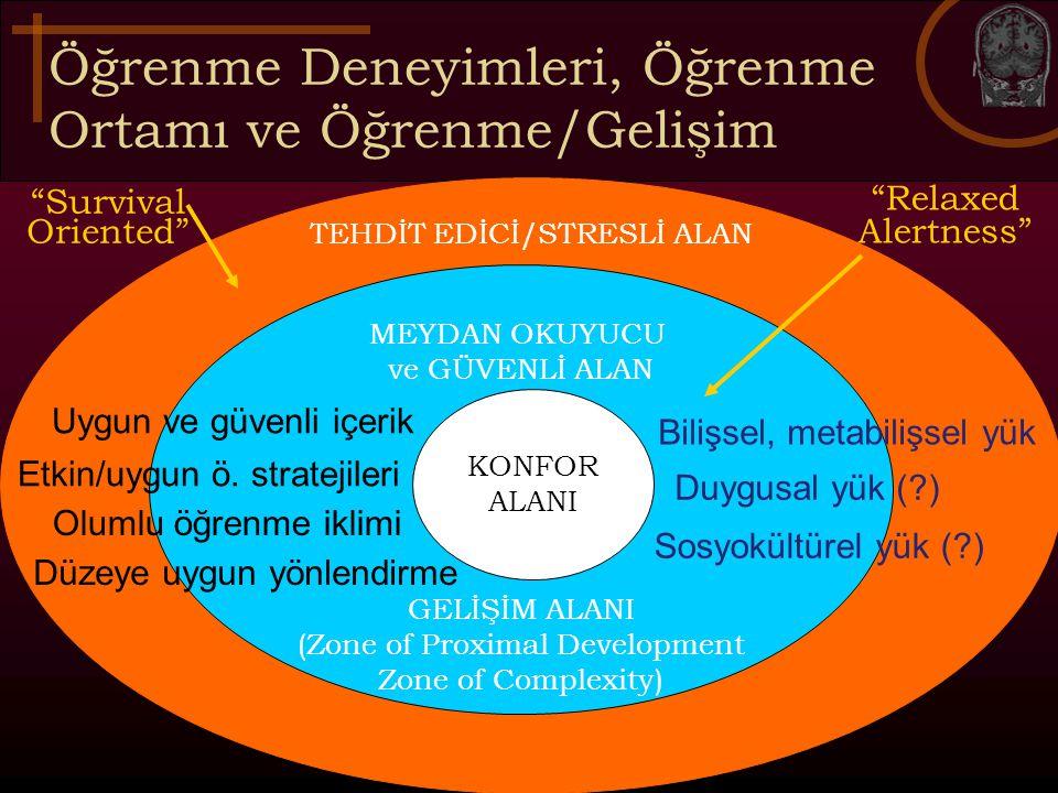 Öğrenme Deneyimleri, Öğrenme Ortamı ve Öğrenme/Gelişim TEHDİT EDİCİ/STRESLİ ALAN MEYDAN OKUYUCU ve GÜVENLİ ALAN GELİŞİM ALANI (Zone of Proximal Develo