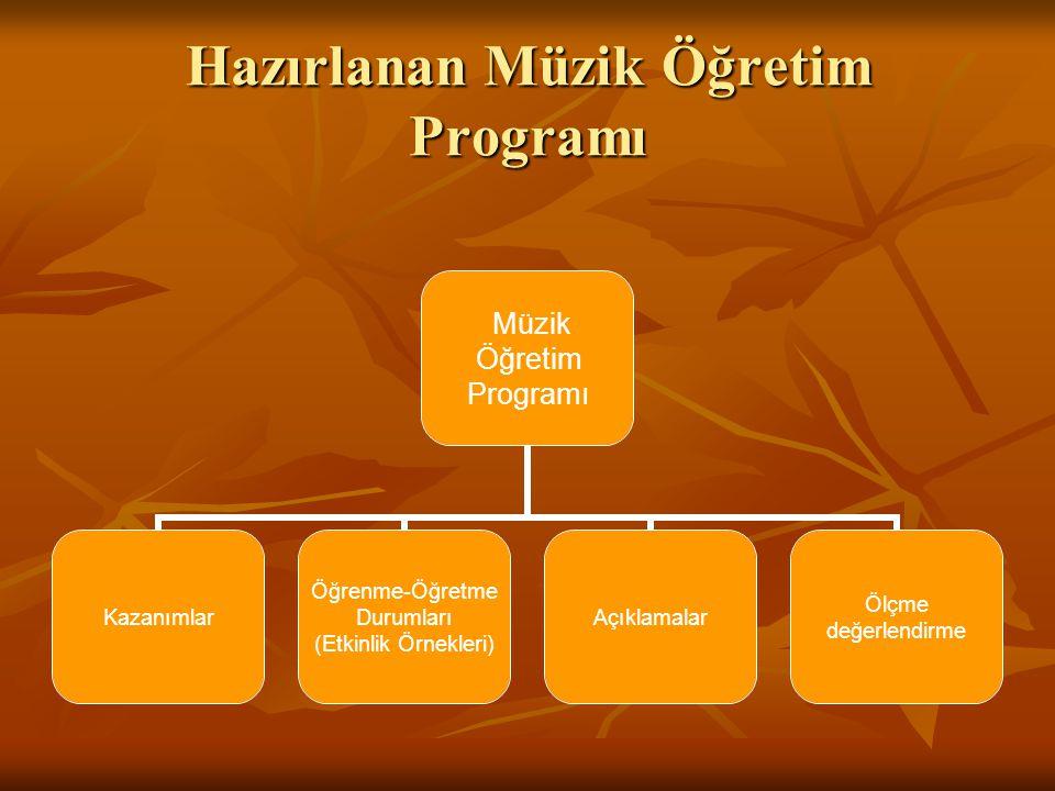 Hazırlanan Müzik Öğretim Programı Müzik Öğretim Programı Kazanımlar Öğrenme-Öğretme Durumları (Etkinlik Örnekleri) Açıklamalar Ölçme değerlendirme