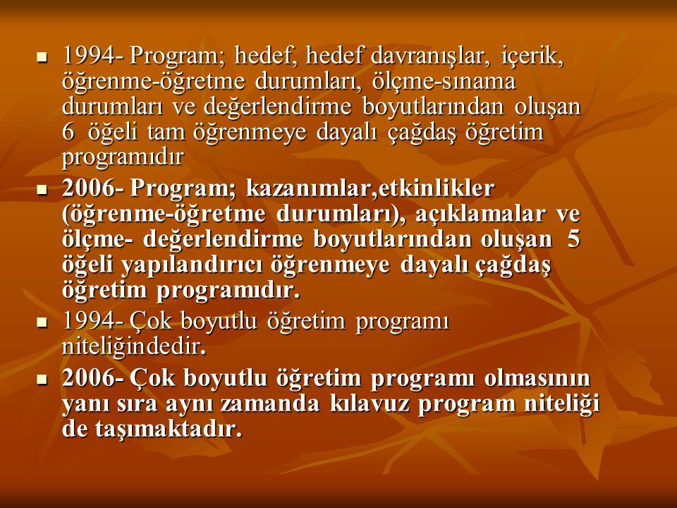 1994- Program; hedef, hedef davranışlar, içerik, öğrenme-öğretme durumları, ölçme-sınama durumları ve değerlendirme boyutlarından oluşan 6 öğeli tam ö