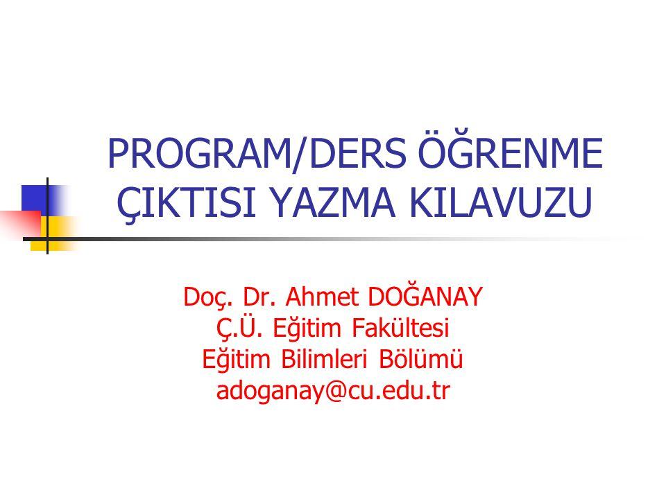 YETERLİK/ÖĞRENME ÇIKTISI HİYERARŞİSİ Avrupa Yeterlilikler Çerçevesi Türkiye YÖ Yeterlilikler Çerçevesi Alan Yeterlilikler Çerçevesi Program Öğrenme Çıktıları Dış Paydaşlar İç Paydaşlar Ders Öğrenme Çıktıları Ders Öğrenme Çıktıları Ders Öğrenme Çıktıları Ders Öğrenme Çıktıları Ders Öğrenme Çıktıları Ders Öğrenme Çıktıları PÇ1PÇ2PÇ3 D1X XXD2 XD3 D4X HazırÜniversitelerde Bölüm / Program Bazında Hazırlanacak D: Ders PÇ: Program Çıktısı