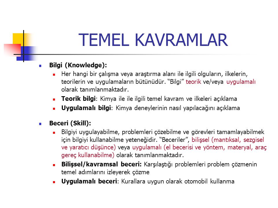 TEMEL KAVRAMLAR Bilgi (Knowledge): Her hangi bir çalışma veya araştırma alanı ile ilgili olguların, ilkelerin, teorilerin ve uygulamaların bütünüdür.