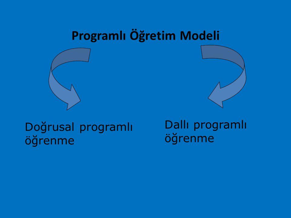 Programlı Öğretim Modeli Dallı programlı öğrenme Doğrusal programlı öğrenme