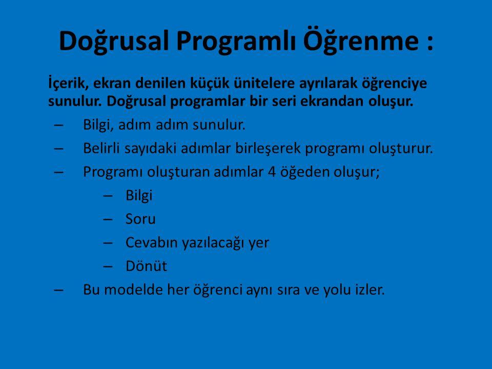 Doğrusal Programlı Öğrenme : İçerik, ekran denilen küçük ünitelere ayrılarak öğrenciye sunulur. Doğrusal programlar bir seri ekrandan oluşur. – Bilgi,