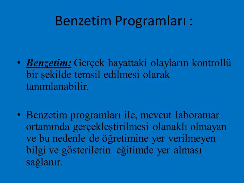 Benzetim Programları : Benzetim: Gerçek hayattaki olayların kontrollü bir şekilde temsil edilmesi olarak tanımlanabilir. Benzetim programları ile, mev