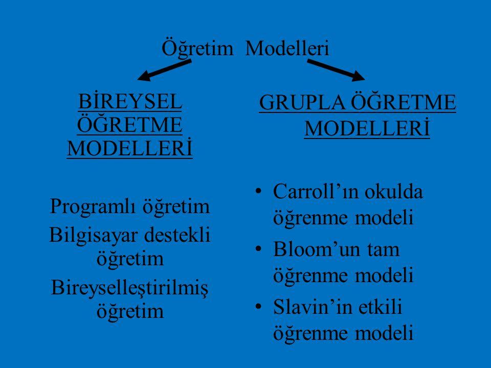 Öğretim Modelleri BİREYSEL ÖĞRETME MODELLERİ Programlı öğretim Bilgisayar destekli öğretim Bireyselleştirilmiş öğretim GRUPLA ÖĞRETME MODELLERİ Carrol