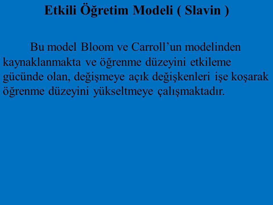 Etkili Öğretim Modeli ( Slavin ) Bu model Bloom ve Carroll'un modelinden kaynaklanmakta ve öğrenme düzeyini etkileme gücünde olan, değişmeye açık deği