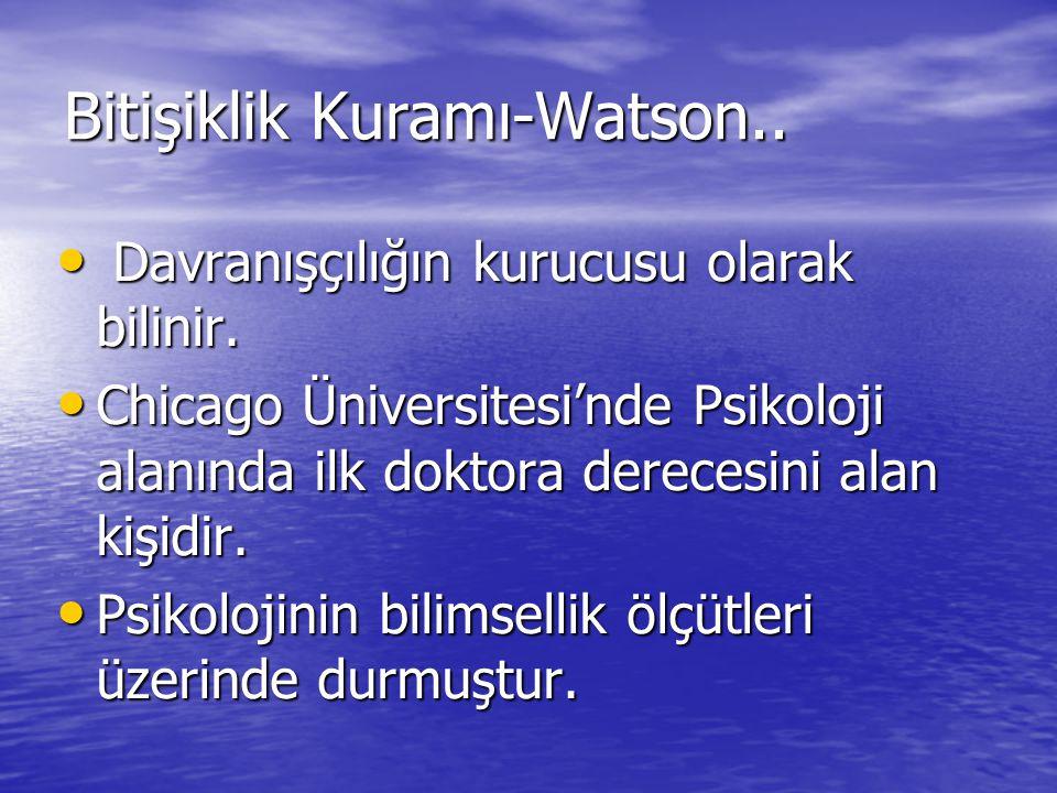 Bitişiklik Kuramı-Watson.. Davranışçılığın kurucusu olarak bilinir. Davranışçılığın kurucusu olarak bilinir. Chicago Üniversitesi'nde Psikoloji alanın