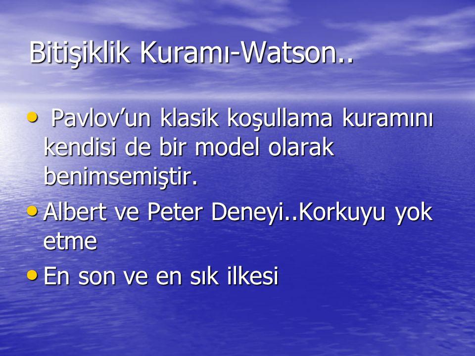 Bitişiklik Kuramı-Watson.. Pavlov'un klasik koşullama kuramını kendisi de bir model olarak benimsemiştir. Pavlov'un klasik koşullama kuramını kendisi