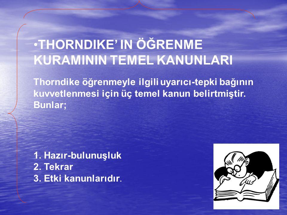 THORNDIKE' IN ÖĞRENME KURAMININ TEMEL KANUNLARI Thorndike öğrenmeyle ilgili uyarıcı-tepki bağının kuvvetlenmesi için üç temel kanun belirtmiştir. Bunl