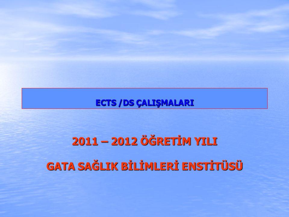 ECTS /DS ÇALIŞMALARI ECTS /DS ÇALIŞMALARI 2011 – 2012 ÖĞRETİM YILI GATA SAĞLIK BİLİMLERİ ENSTİTÜSÜ