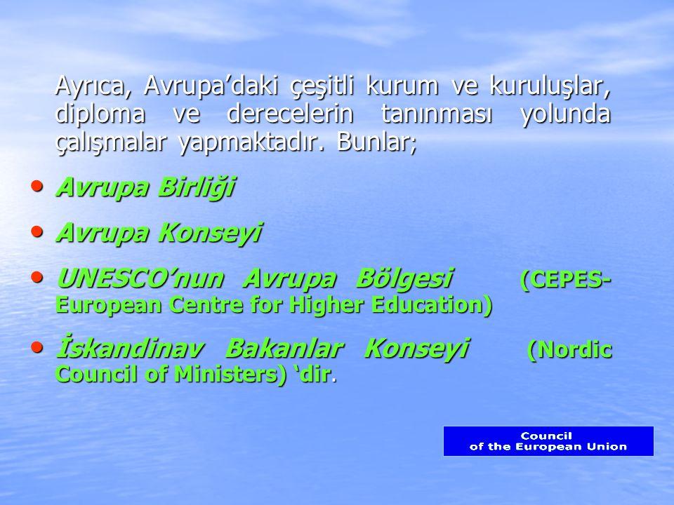 Ayrıca, Avrupa'daki çeşitli kurum ve kuruluşlar, diploma ve derecelerin tanınması yolunda çalışmalar yapmaktadır.