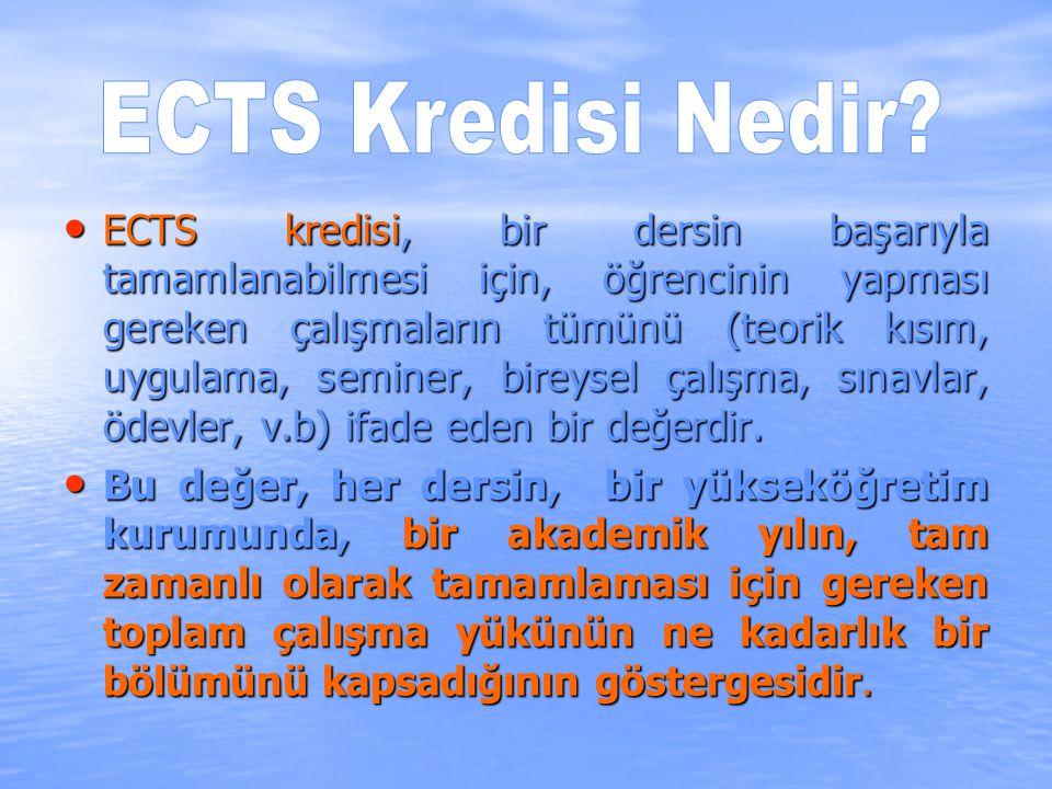 ECTS kredisi, bir dersin başarıyla tamamlanabilmesi için, öğrencinin yapması gereken çalışmaların tümünü (teorik kısım, uygulama, seminer, bireysel çalışma, sınavlar, ödevler, v.b) ifade eden bir değerdir.