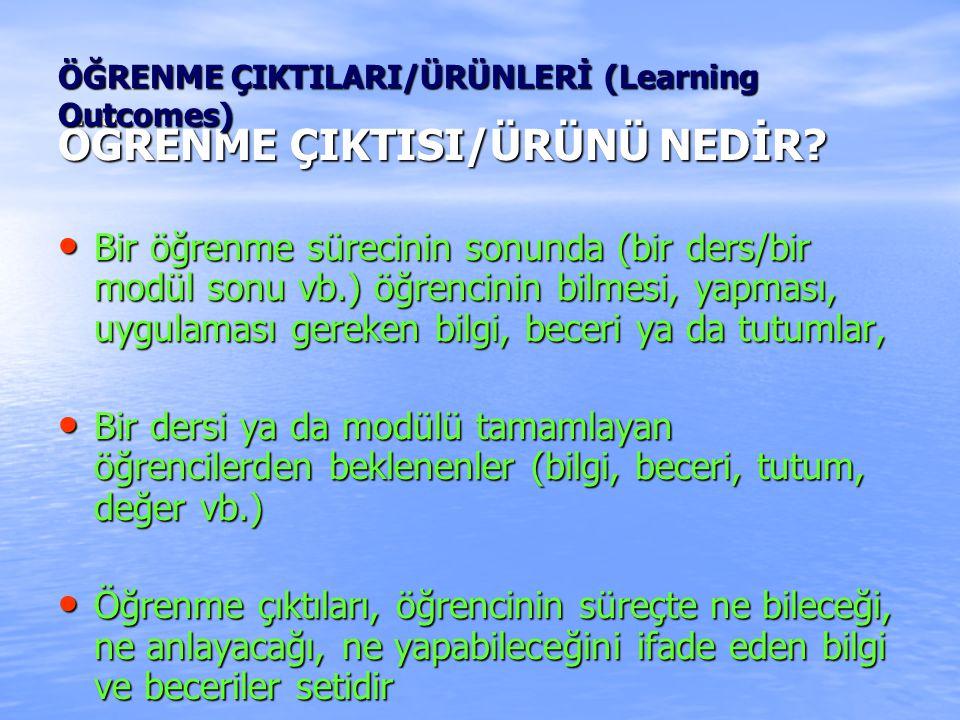 ÖĞRENME ÇIKTISI/ÜRÜNÜ NEDİR.
