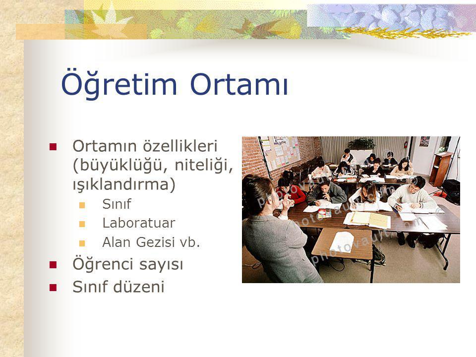 Öğretim Ortamı Ortamın özellikleri (büyüklüğü, niteliği, ışıklandırma) Sınıf Laboratuar Alan Gezisi vb. Öğrenci sayısı Sınıf düzeni