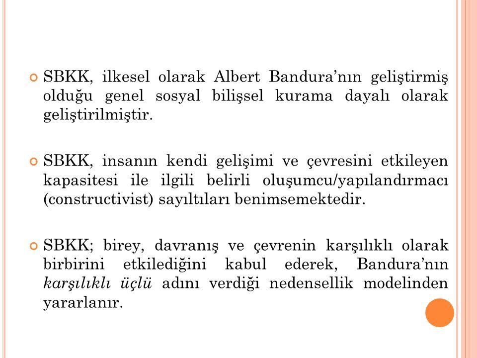 SBKK, ilkesel olarak Albert Bandura'nın geliştirmiş olduğu genel sosyal bilişsel kurama dayalı olarak geliştirilmiştir. SBKK, insanın kendi gelişimi v