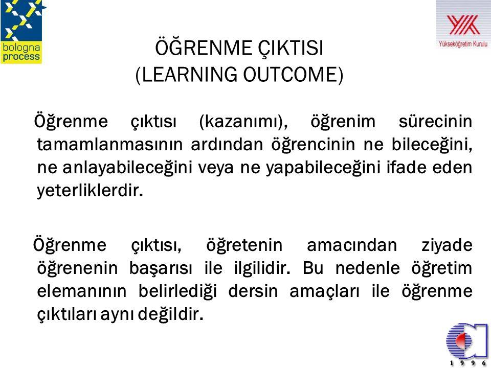 ÖĞRENME ÇIKTISI (LEARNING OUTCOME) Öğrenme çıktısı (kazanımı), öğrenim sürecinin tamamlanmasının ardından öğrencinin ne bileceğini, ne anlayabileceğin