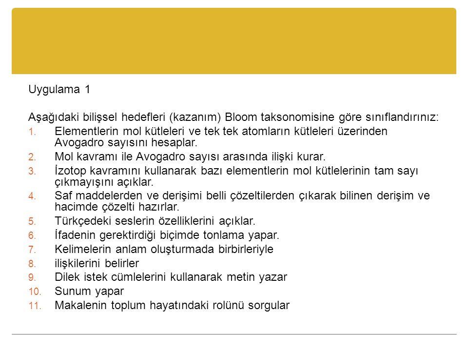 Uygulama 1 Aşağıdaki bilişsel hedefleri (kazanım) Bloom taksonomisine göre sınıflandırınız: 1.