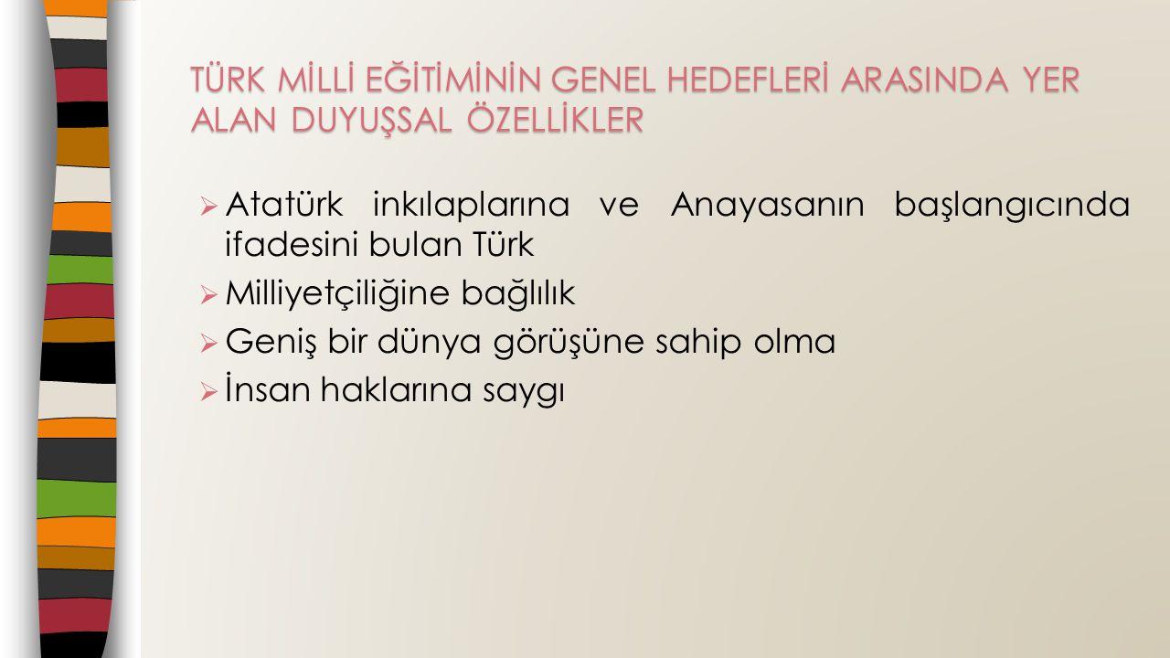  Atatürk inkılaplarına ve Anayasanın başlangıcında ifadesini bulan Türk  Milliyetçiliğine bağlılık  Geniş bir dünya görüşüne sahip olma  İnsan haklarına saygı TÜRK MİLLİ EĞİTİMİNİN GENEL HEDEFLERİ ARASINDA YER ALAN DUYUŞSAL ÖZELLİKLER