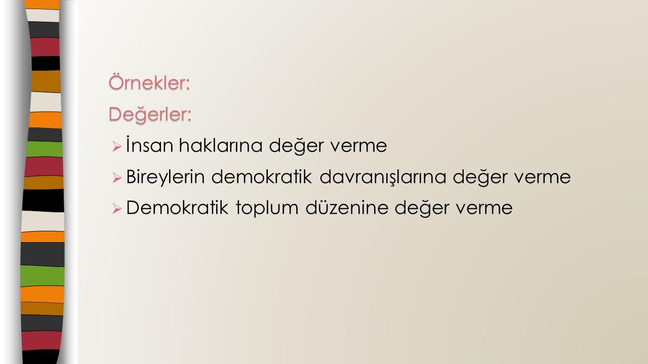 Örnekler:Değerler:  İnsan haklarına değer verme  Bireylerin demokratik davranışlarına değer verme  Demokratik toplum düzenine değer verme