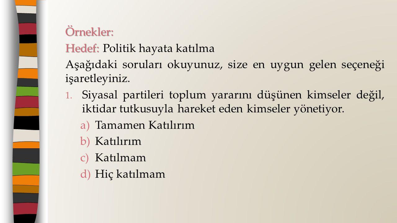 Örnekler: Hedef: Hedef: Politik hayata katılma Aşağıdaki soruları okuyunuz, size en uygun gelen seçeneği işaretleyiniz.
