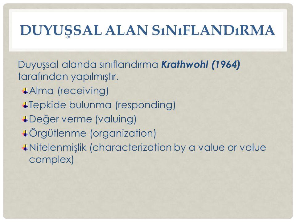 DUYUŞSAL ALAN SıNıFLANDıRMA Duyuşsal alanda sınıflandırma Krathwohl (1964) tarafından yapılmıştır.