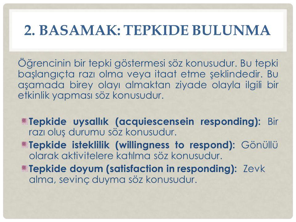 2. BASAMAK: TEPKIDE BULUNMA Öğrencinin bir tepki göstermesi söz konusudur. Bu tepki başlangıçta razı olma veya itaat etme şeklindedir. Bu aşamada bire