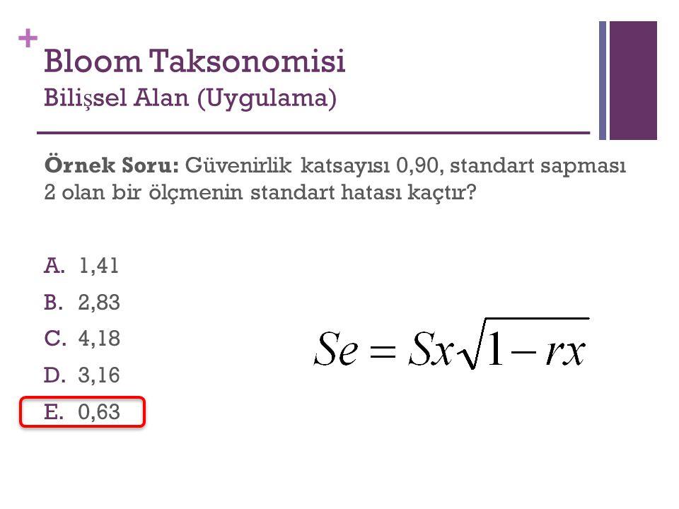 + Örnek Soru: Güvenirlik katsayısı 0,90, standart sapması 2 olan bir ölçmenin standart hatası kaçtır? A.1,41 B.2,83 C.4,18 D.3,16 E.0,63 Bloom Taksono