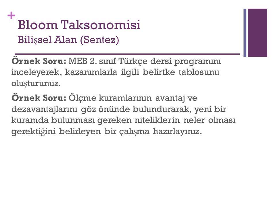 + Örnek Soru: MEB 2. sınıf Türkçe dersi programını inceleyerek, kazanımlarla ilgili belirtke tablosunu olu ş turunuz. Örnek Soru: Ölçme kuramlarının a