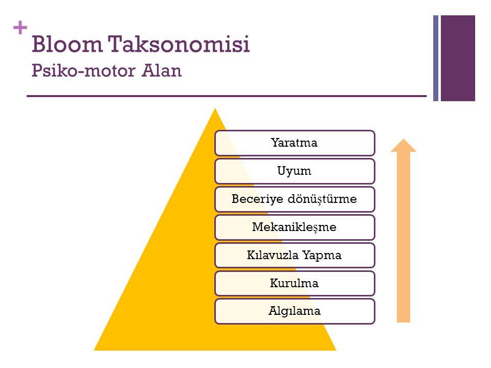 + Bloom Taksonomisi Psiko-motor Alan YaratmaUyumBeceriye dönü ş türmeMekanikle ş meKılavuzla YapmaKurulmaAlgılama