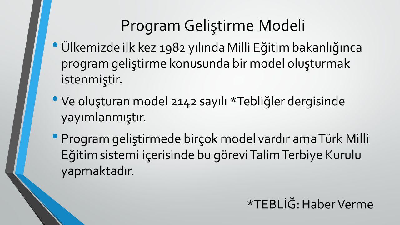 Program Geliştirme Modeli Ülkemizde ilk kez 1982 yılında Milli Eğitim bakanlığınca program geliştirme konusunda bir model oluşturmak istenmiştir. Ve o