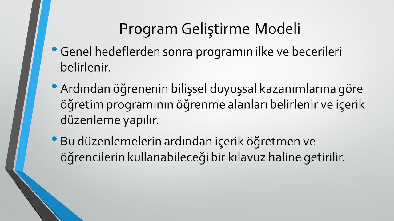 Program Geliştirme Modeli Genel hedeflerden sonra programın ilke ve becerileri belirlenir. Ardından öğrenenin bilişsel duyuşsal kazanımlarına göre öğr