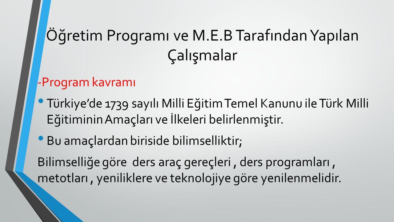 Öğretim Programı ve M.E.B Tarafından Yapılan Çalışmalar -Program kavramı Türkiye'de 1739 sayılı Milli Eğitim Temel Kanunu ile Türk Milli Eğitiminin Am