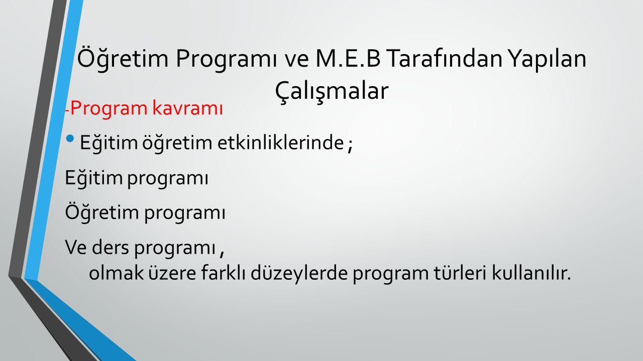 Öğretim Programı ve M.E.B Tarafından Yapılan Çalışmalar - Program kavramı Eğitim öğretim etkinliklerinde ; Eğitim programı Öğretim programı Ve ders pr