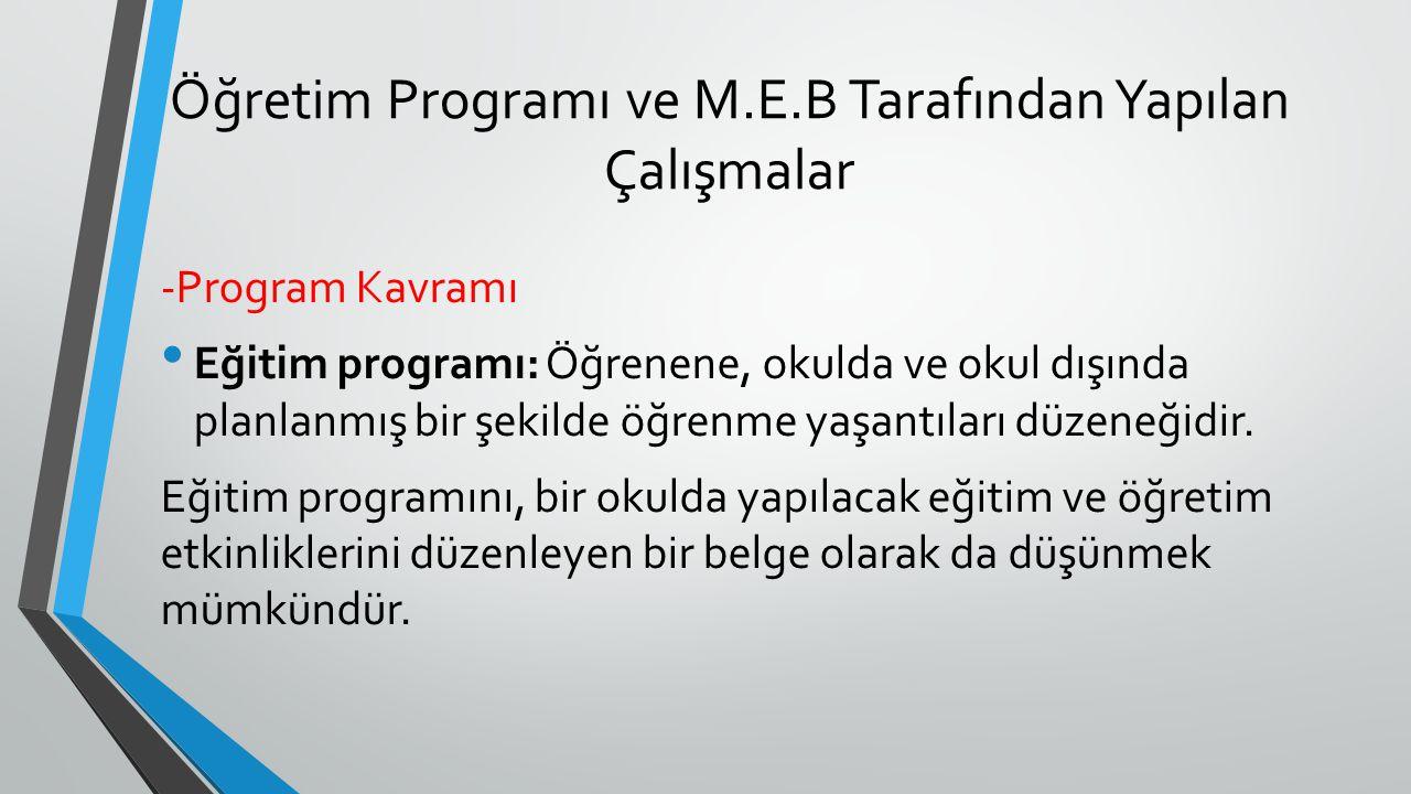 Öğretim Programı ve M.E.B Tarafından Yapılan Çalışmalar -Program Kavramı Eğitim programı: Öğrenene, okulda ve okul dışında planlanmış bir şekilde öğre