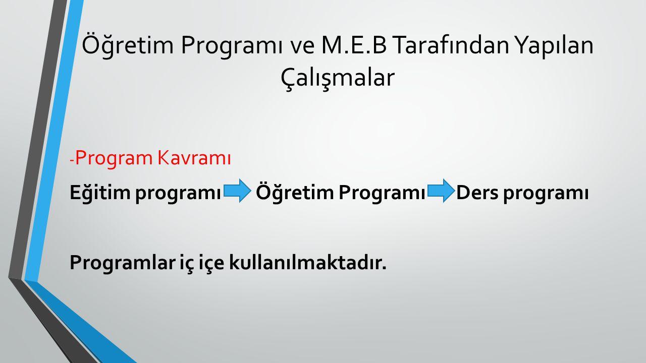 Öğretim Programı ve M.E.B Tarafından Yapılan Çalışmalar - Program Kavramı Eğitim programı Öğretim Programı Ders programı Programlar iç içe kullanılmak
