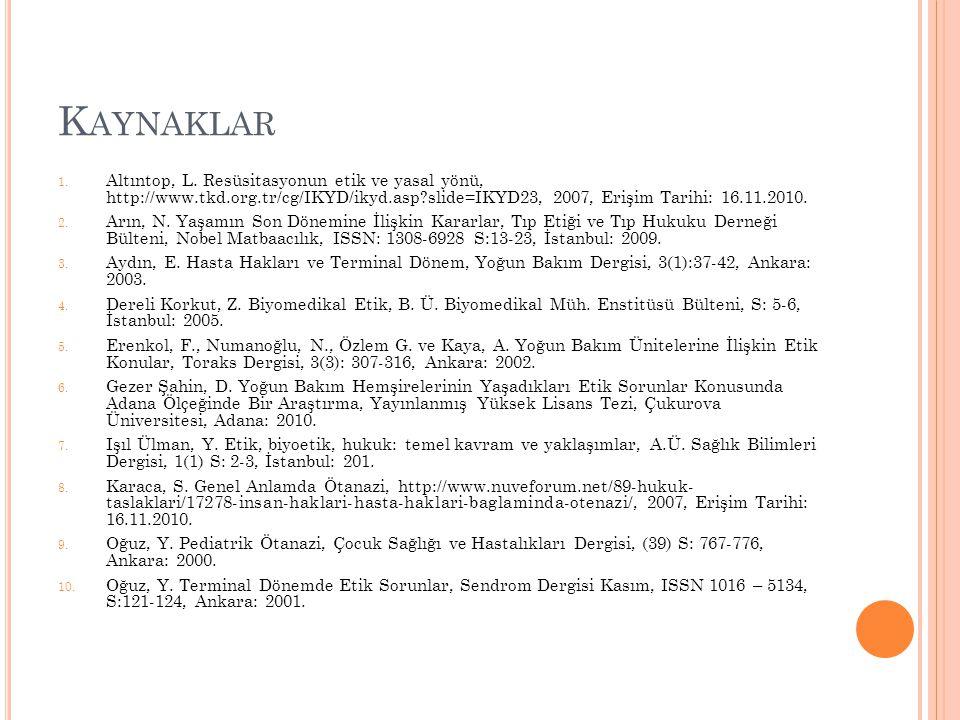 K AYNAKLAR 1. Altıntop, L. Resüsitasyonun etik ve yasal yönü, http://www.tkd.org.tr/cg/IKYD/ikyd.asp?slide=IKYD23, 2007, Erişim Tarihi: 16.11.2010. 2.