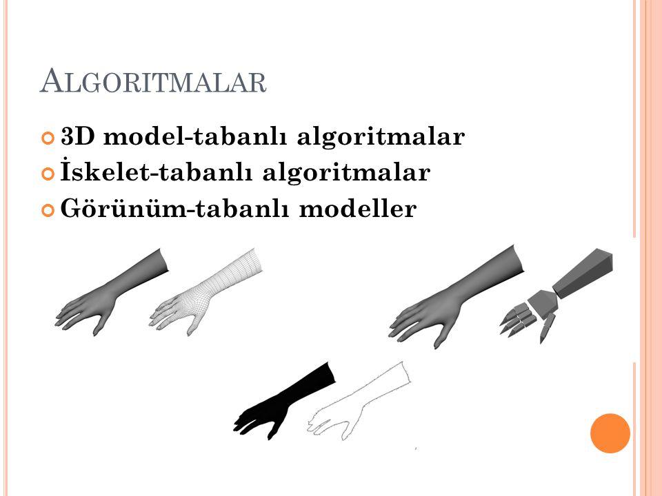 A LGORITMALAR 3D model-tabanlı algoritmalar İskelet-tabanlı algoritmalar Görünüm-tabanlı modeller