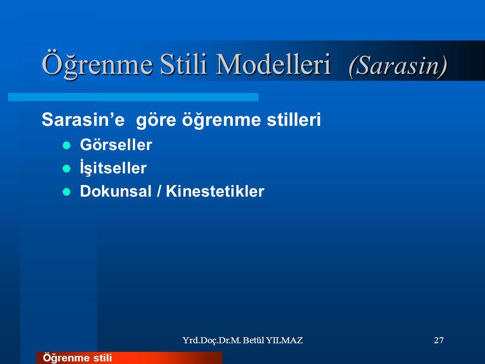 Öğrenme Stili Modelleri (Sarasin) Sarasin'e göre öğrenme stilleri Görseller İşitseller Dokunsal / Kinestetikler Yrd.Doç.Dr.M.