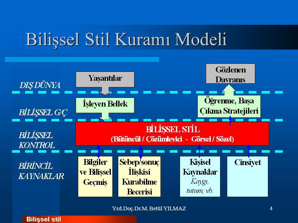 Bilişsel Stil Kuramı Modeli Yrd.Doç.Dr.M. Betül YILMAZ4 Bilişsel stil