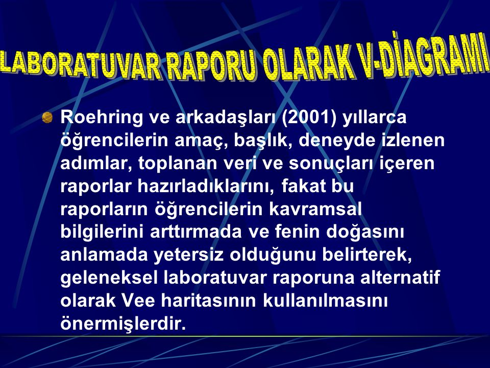 Roehring ve arkadaşları (2001) yıllarca öğrencilerin amaç, başlık, deneyde izlenen adımlar, toplanan veri ve sonuçları içeren raporlar hazırladıkların