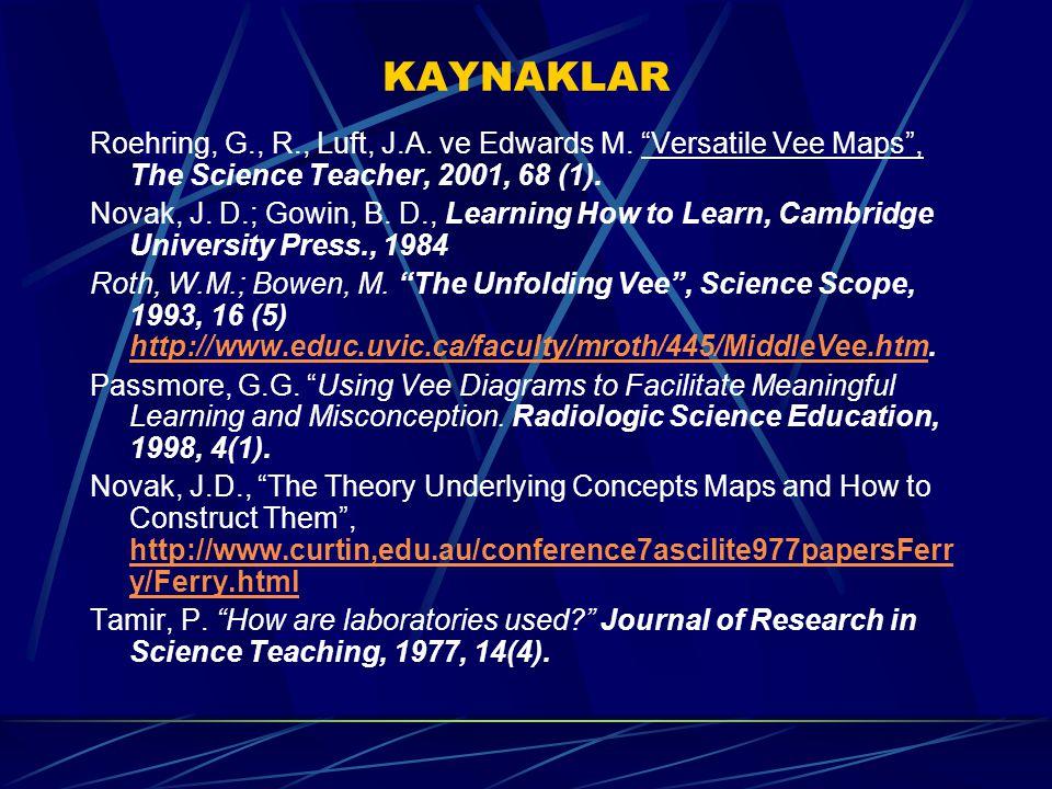 "KAYNAKLAR Roehring, G., R., Luft, J.A. ve Edwards M. ""Versatile Vee Maps"", The Science Teacher, 2001, 68 (1). Novak, J. D.; Gowin, B. D., Learning How"