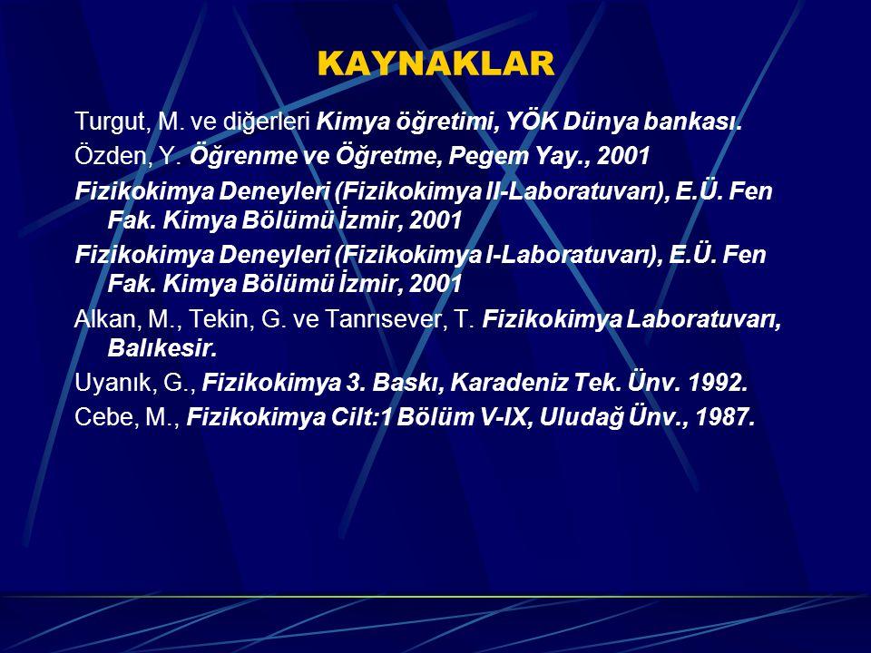 KAYNAKLAR Turgut, M. ve diğerleri Kimya öğretimi, YÖK Dünya bankası. Özden, Y. Öğrenme ve Öğretme, Pegem Yay., 2001 Fizikokimya Deneyleri (Fizikokimya