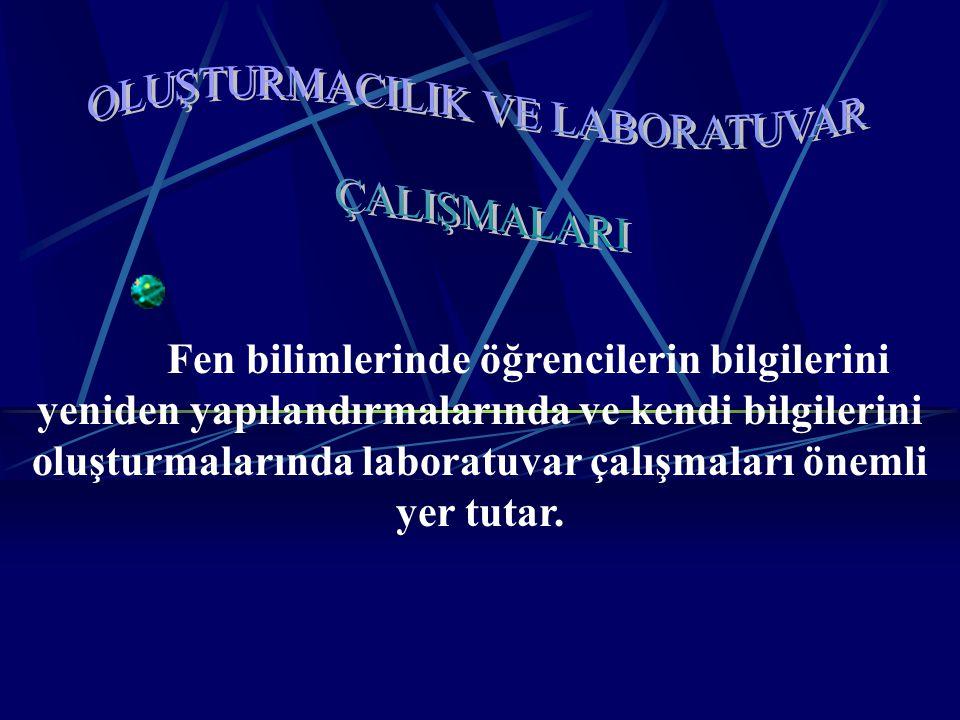 Laboratuvar çalışmalarını değerlendiren çalışmalardan örnekler Leonard (1989), öğrencilerin laboratuvar çalışmalarında, deneyleri yemek kitabındaki tariflri uygular gibi uyguladıklarını ve laboratuvada geçirdikleri zamanın çoğunu öğretmenin aktardığı bilgileri dinlemekle geçirdiklerini ifade etmiştir Johnstone ve Whom (1982), öğrencilerin laboratuvarda ne yaptıklarını çok az düşünerek ya da hiç düşünmeksizin olabildiğince çabuk bitirebilmek için hızlı bir şekilde çalıştıklarını, bazılarının son ana kadar oturup bir reaksiyonun ne olduğunu ve ne öğrenmesi gerektiğini anlamaksızın oturup seyrettiğini belirtmektedir