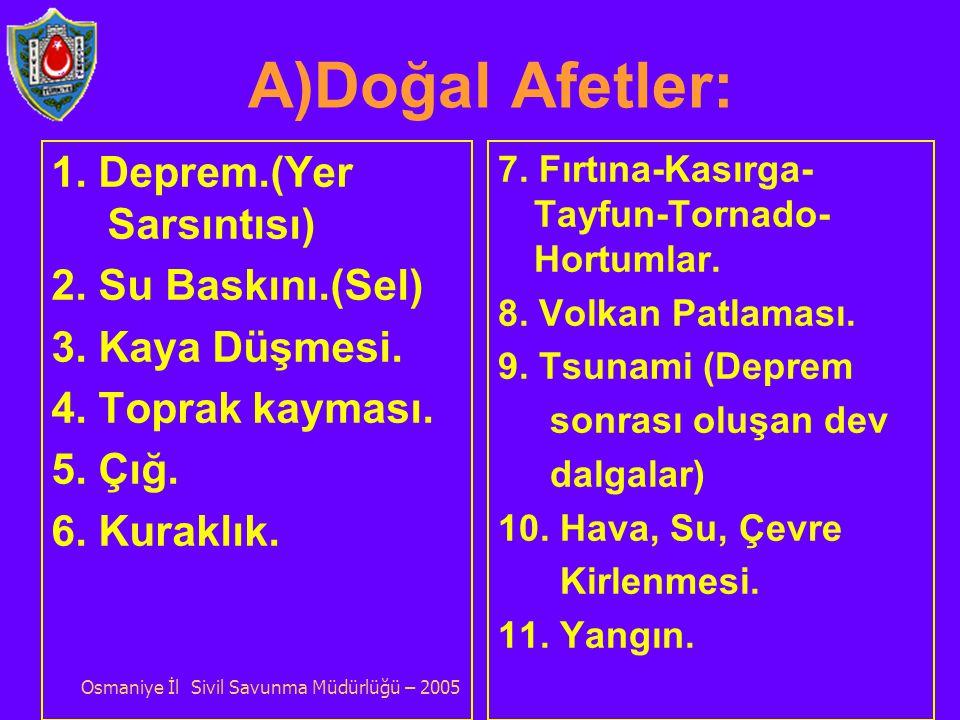 AFET ÇEŞİTLERİ : A.Doğal Afetler. B.Teknolojik Afetler. C.İnsan Kökenli Afetler. Osmaniye İl Sivil Savunma Müdürlüğü – 2005