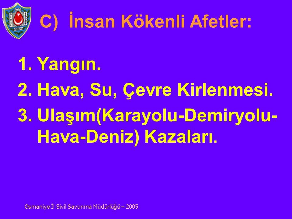 B)Teknolojik Afetler: 1.Baraj Patlaması. 2.Sanayi Kazaları. Osmaniye İl Sivil Savunma Müdürlüğü – 2005