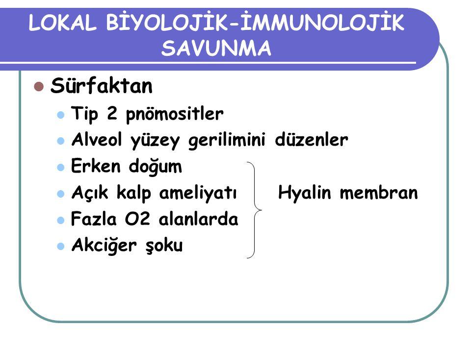 LOKAL BİYOLOJİK-İMMUNOLOJİK SAVUNMA Sürfaktan Tip 2 pnömositler Alveol yüzey gerilimini düzenler Erken doğum Açık kalp ameliyatı Hyalin membran Fazla